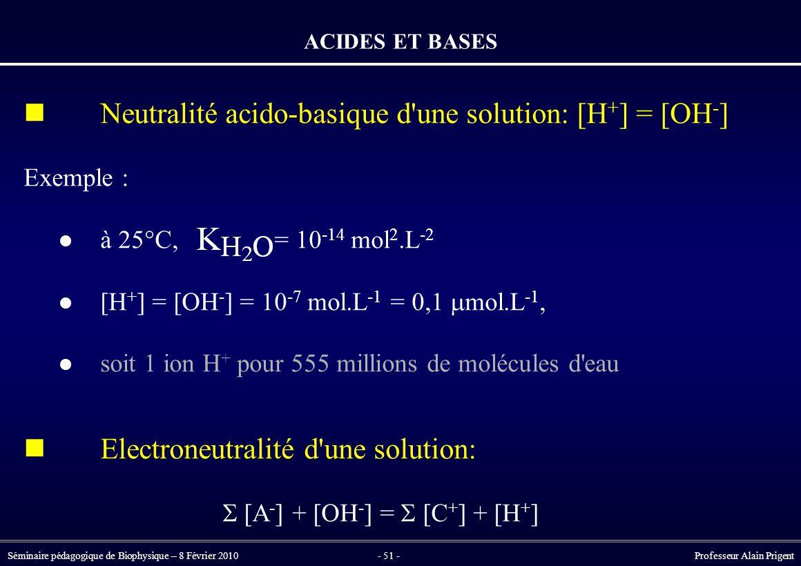  Neutralité acido-basique d une solution: [H+] = [OH-]